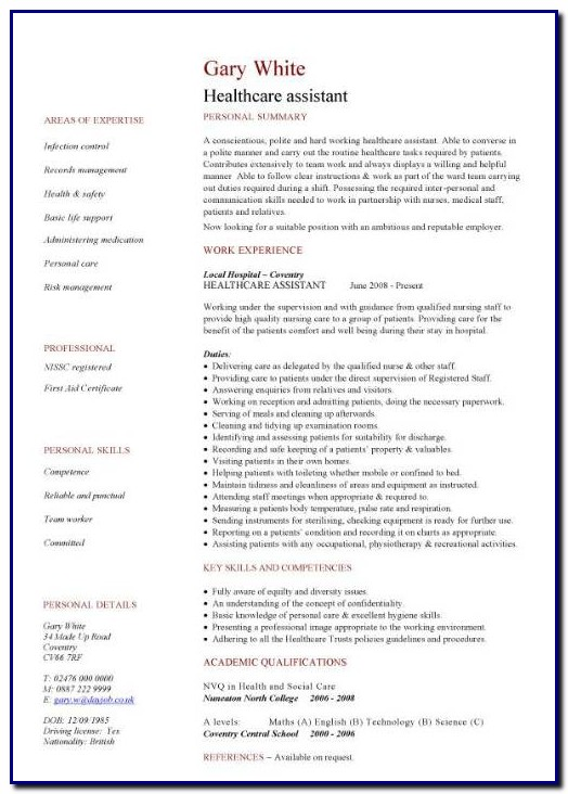 Health Professional Resume Template