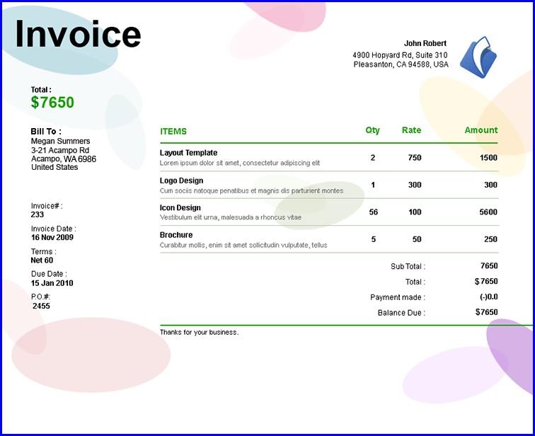 Invoice Template For Freelance Designer