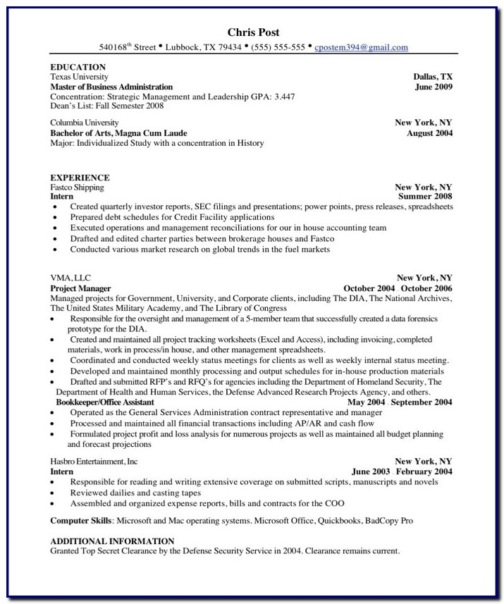 Non Professional Resume Template