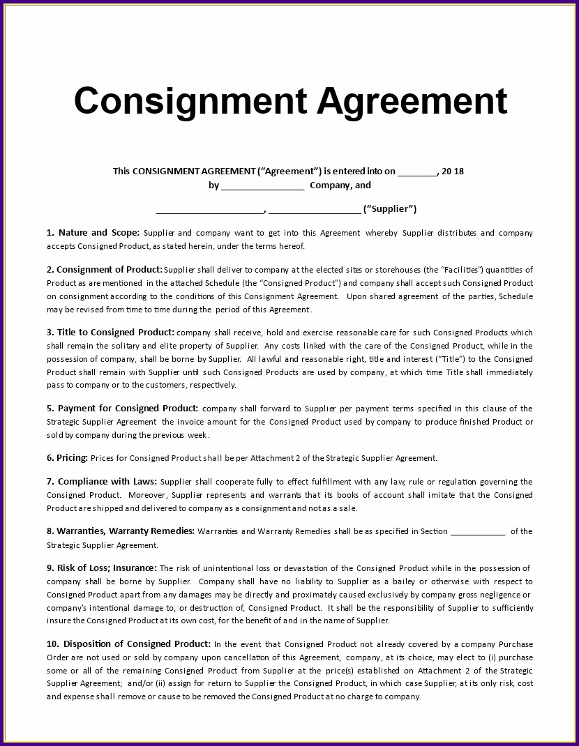 Product Consignment Agreement Template