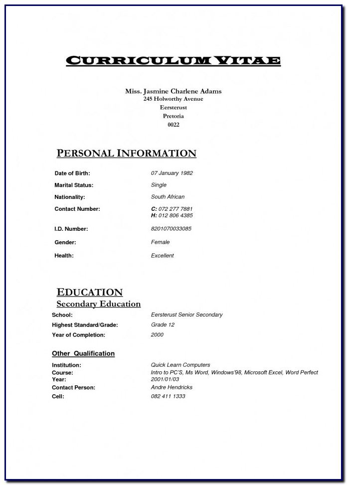 Professional Curriculum Vitae Template South Africa