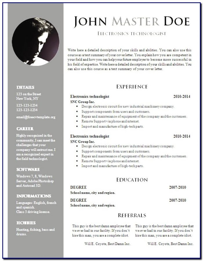 Professional Cv Template Doc Free Download