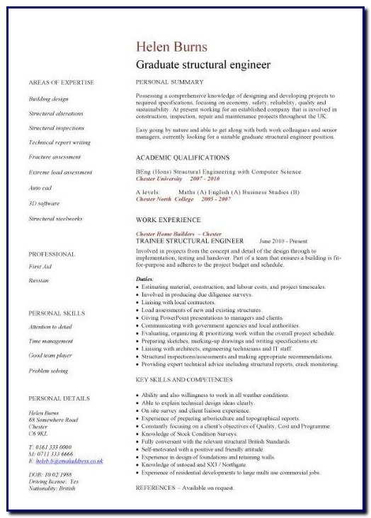 Professional Cv Template Engineer