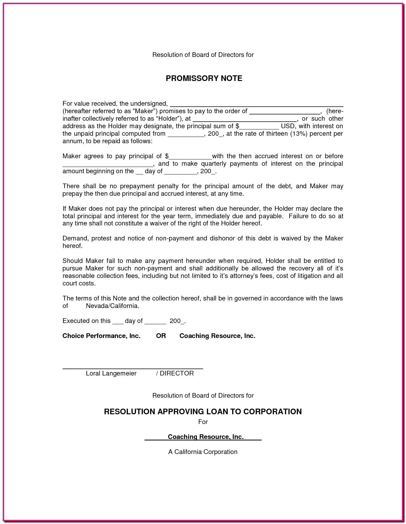 Promissory Note Blank Form Free