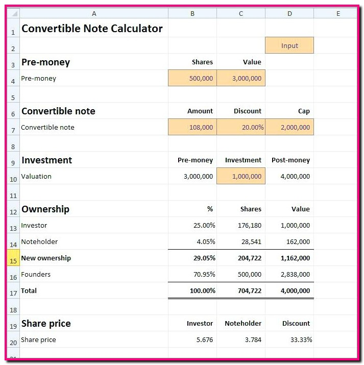 Promissory Note Calculator Template