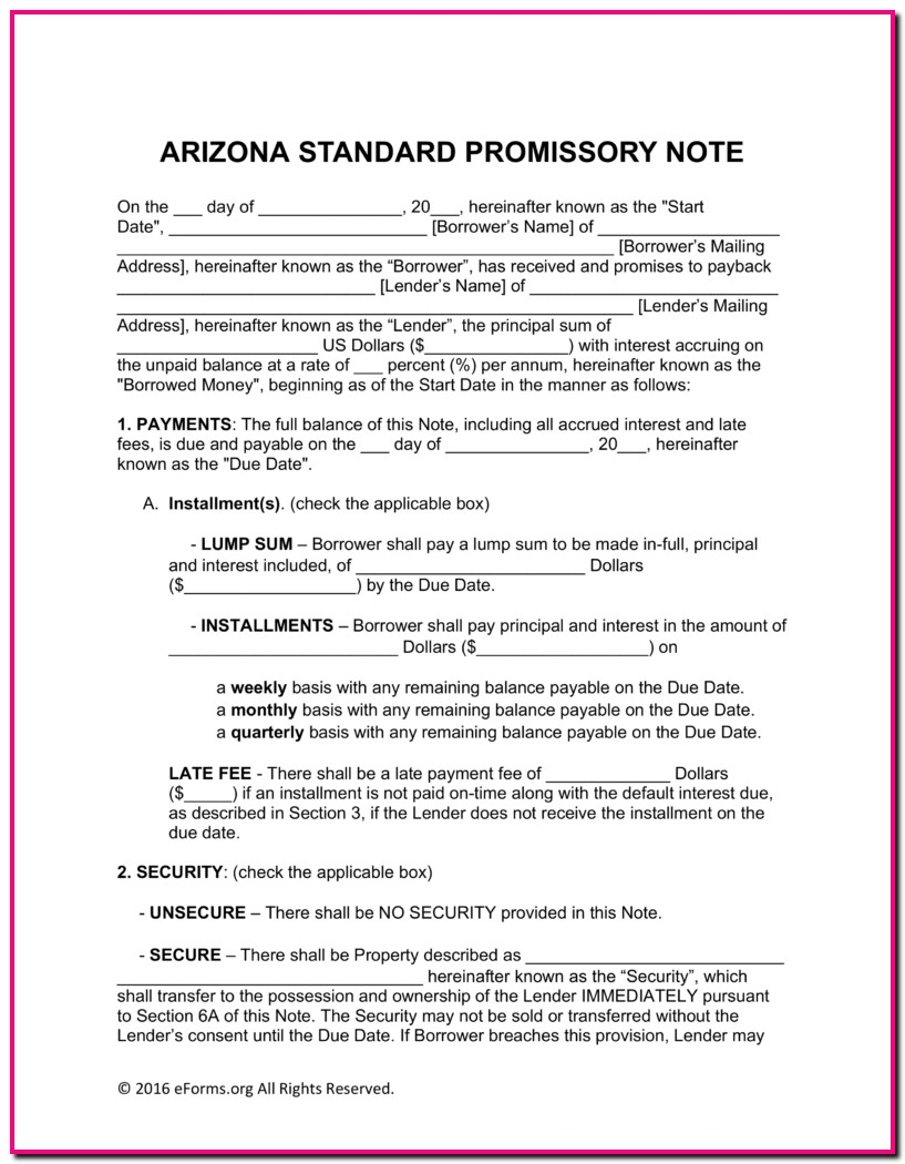 Promissory Note Form Arizona