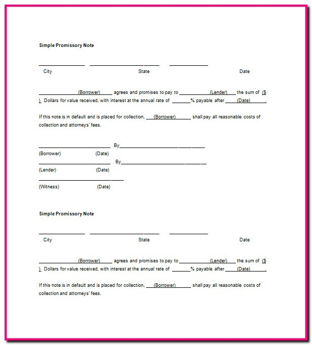 Promissory Note Form Blank