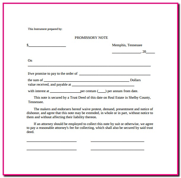 Promissory Note Template Free Online