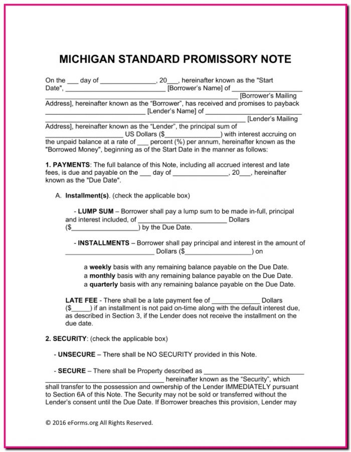 Promissory Note Template Michigan