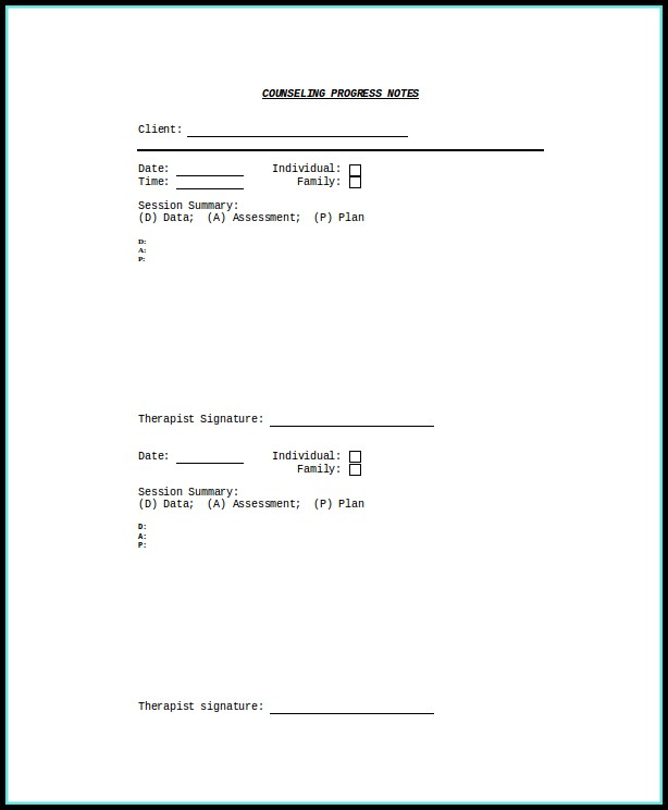 Psychotherapy Progress Note Template Pdf