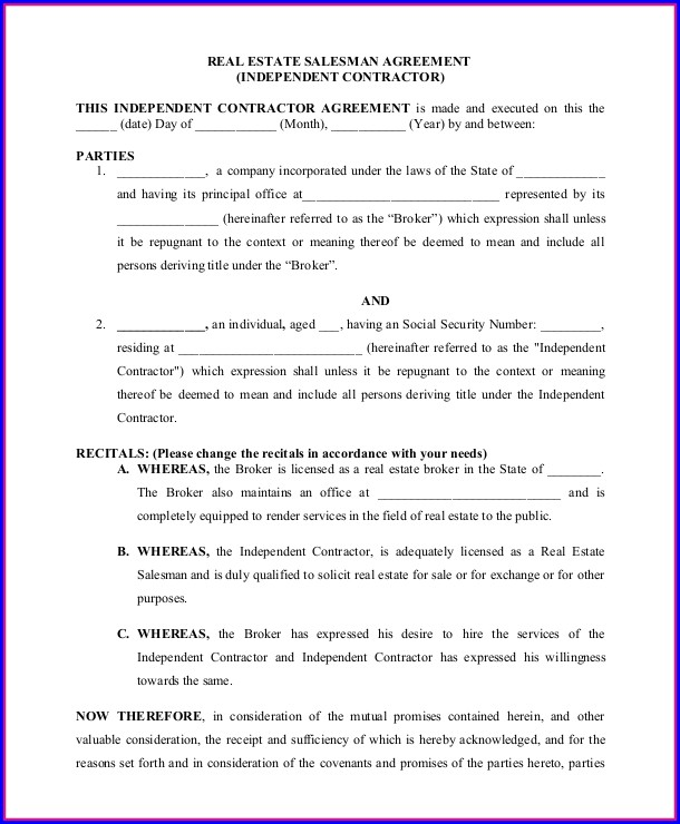 Real Estate Agent Employment Contract Template