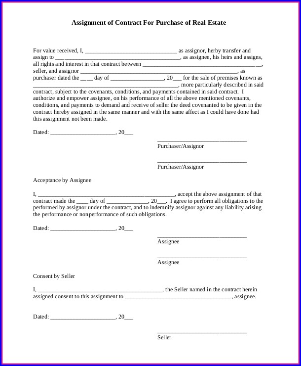 Real Estate Assignment Contract Template