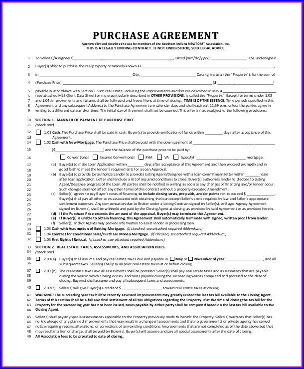 Real Estate Purchase Agreement Template Indiana