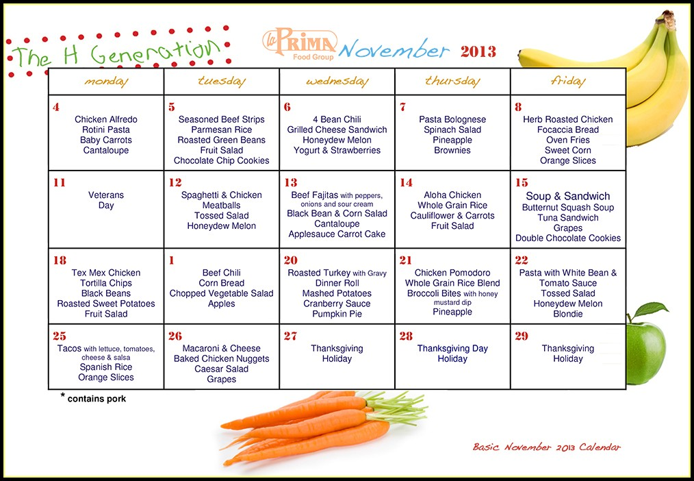 School Lunch Menu Calendar Templates