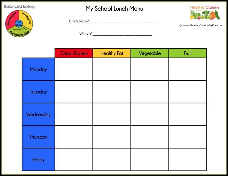 School Lunch Menu Template Free