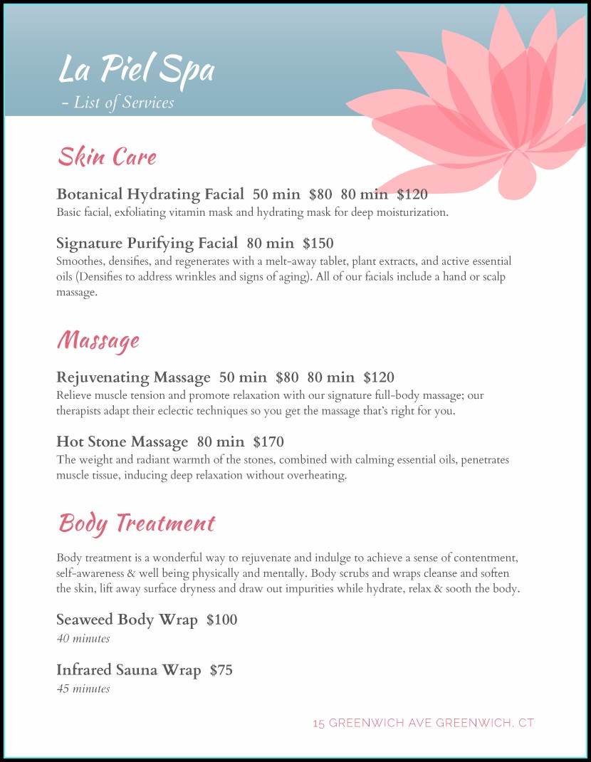 Spa Menu Design Template