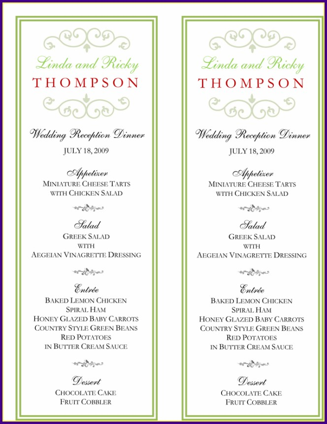 Wedding Reception Buffet Menu Template