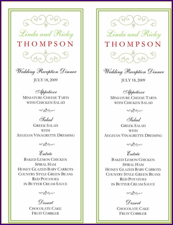 Wedding Reception Buffet Menu Template