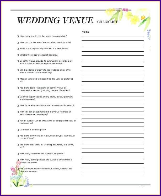 Wedding Reception Checklist Template