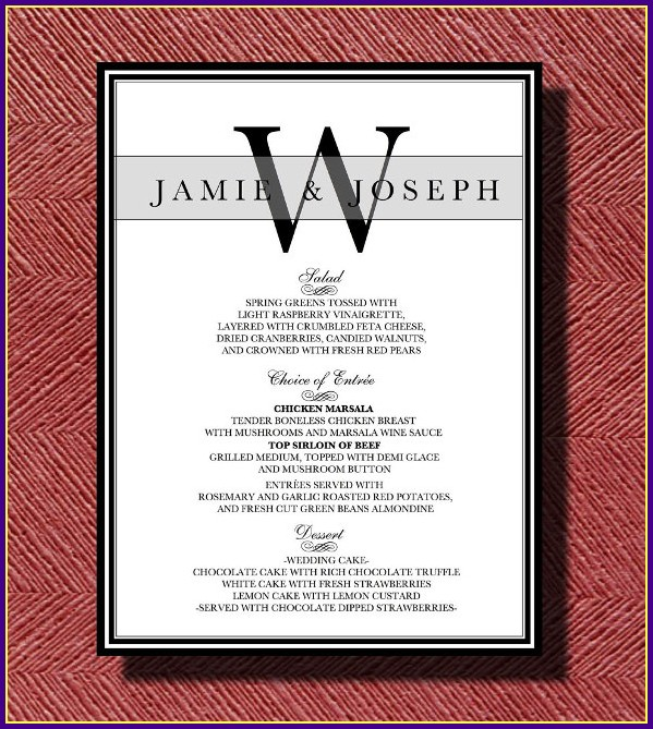 Wedding Reception Menu Template Word