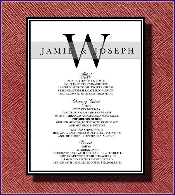 Wedding Reception Menu Template Word