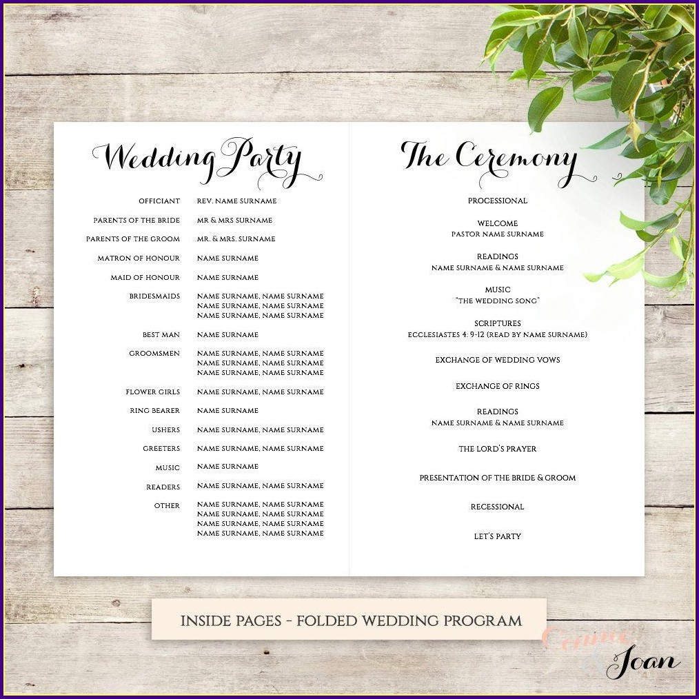 Wedding Reception Order Of Service Template