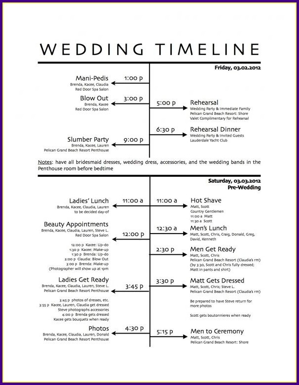 Wedding Reception Schedule Template