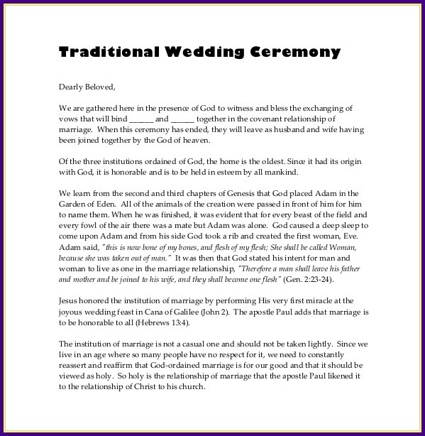 Wedding Reception Template Program