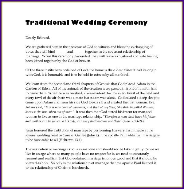 Wedding Reception Template Program