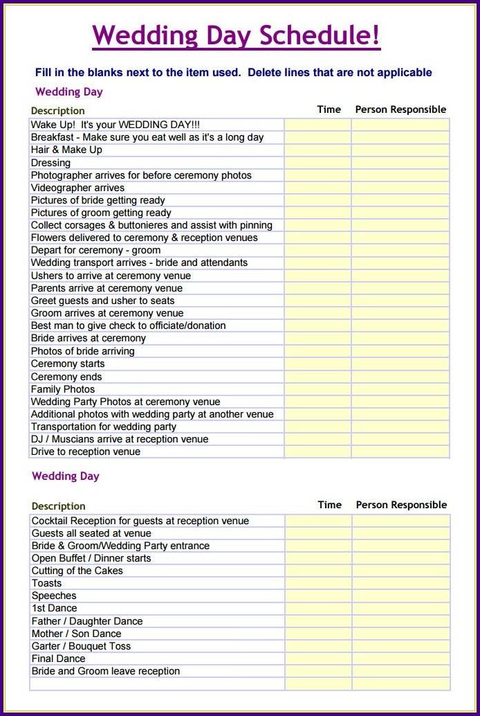 Wedding Reception Timeline Template Excel