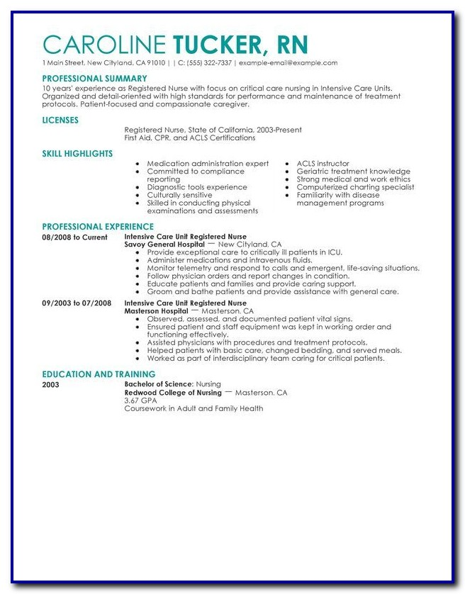 Critical Care Nursing Resume Template
