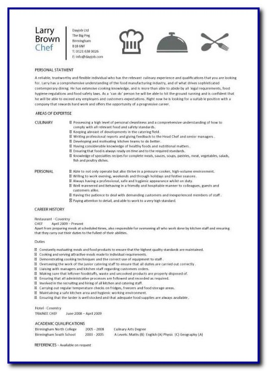 Free Chef Resume Templates Microsoft Word