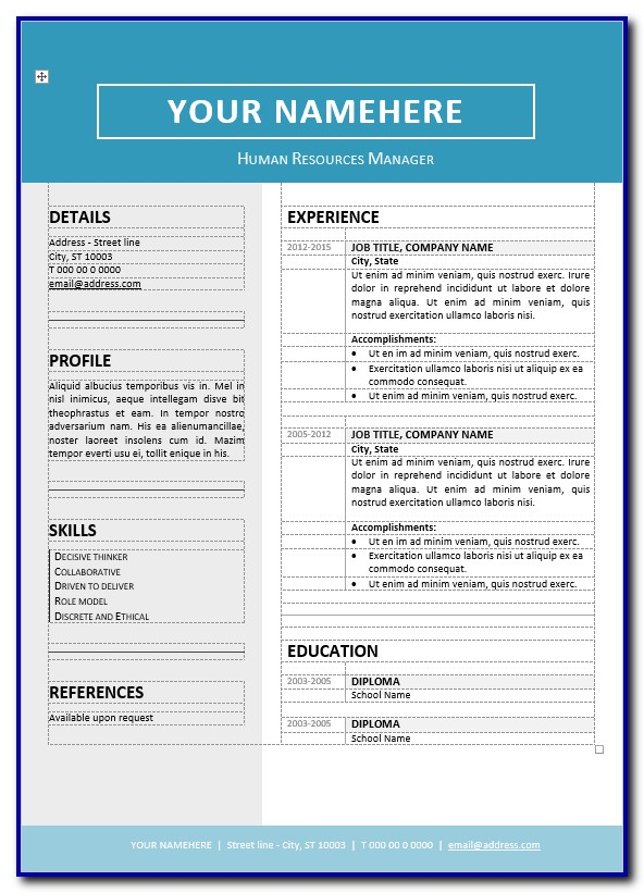 Free Editable Resume Templates Microsoft Word