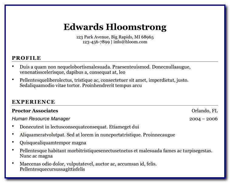 Free Simple Resume Templates Microsoft Word