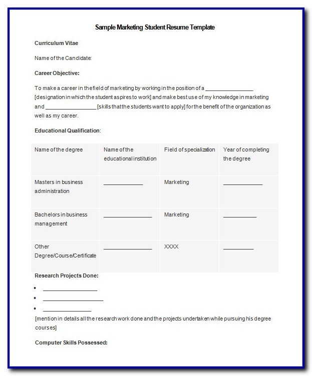 Free Student Resume Templates Microsoft Word