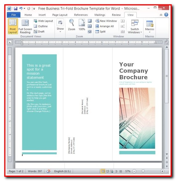 Free Tri Fold Brochure Template For Word