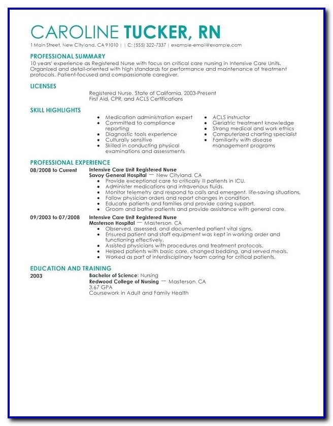 Nursing Resume Template Australia