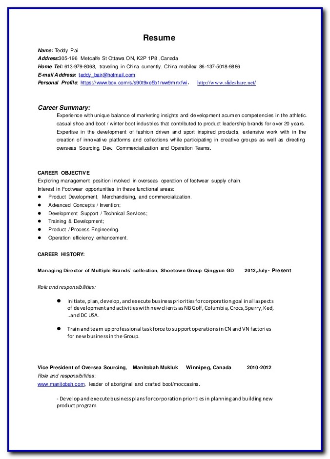 Nursing Resume Template Canada