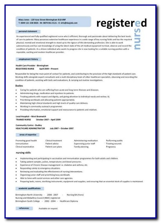 Nursing Resume Template Free