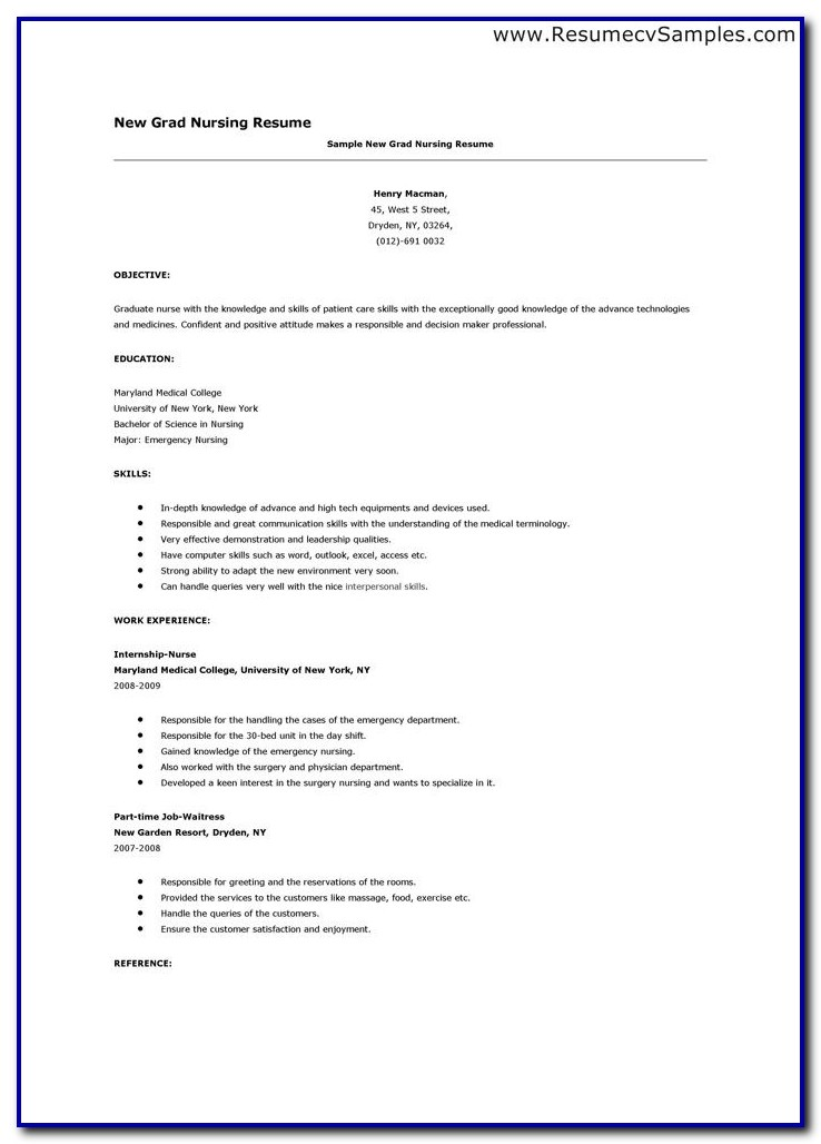 Nursing Resume Template New Grad