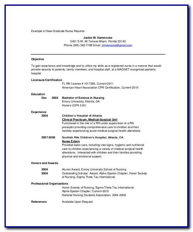 Nursing Resume Template Pdf