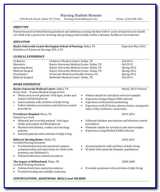 Nursing Student Resume Template Free