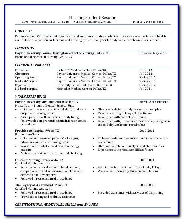 Resume Template For Nursing Student