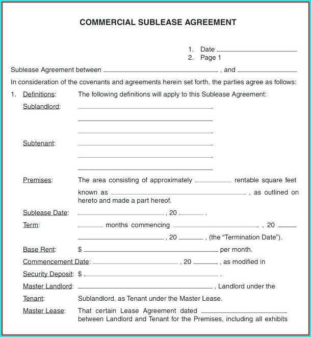 Commercial Sublease Agreement Template Word Uk