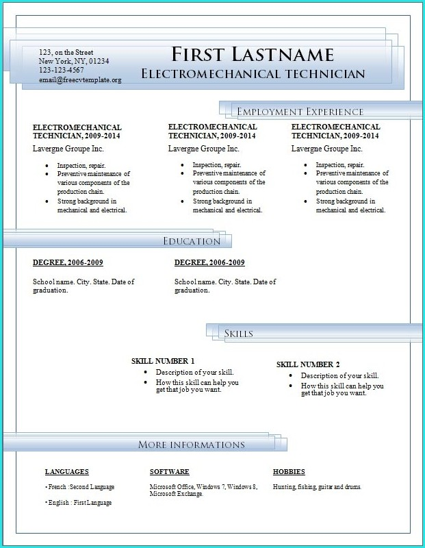 Download Resume Templates Word 2007