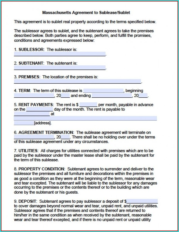 Month To Month Sublease Agreement Template