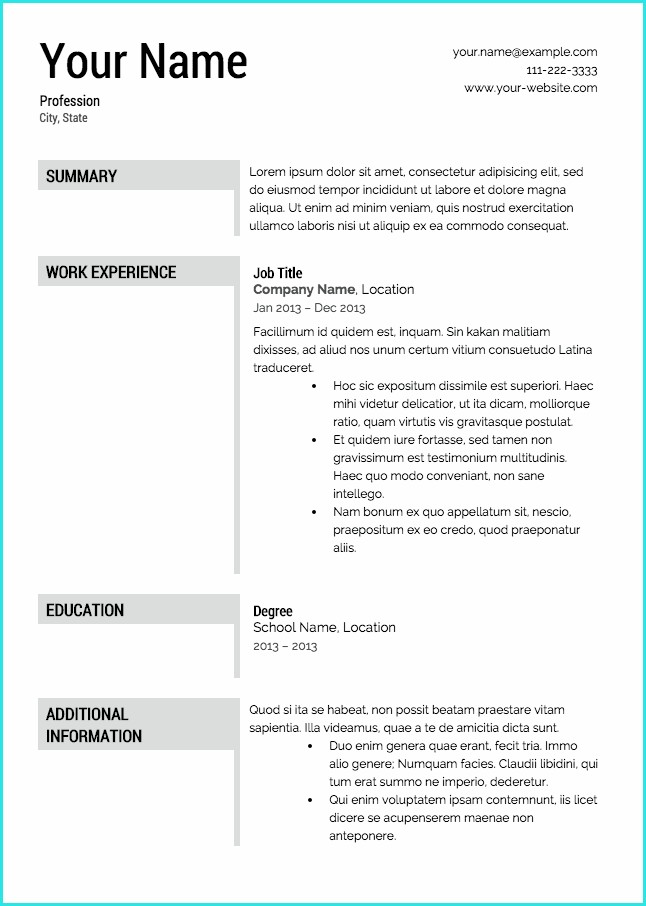 Resume Templates To Download Free