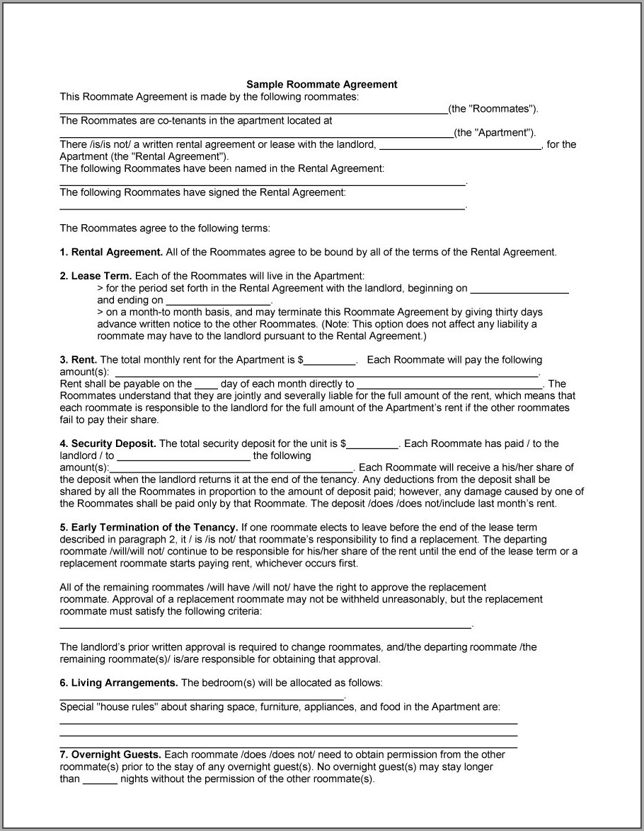 Roommate Sublease Agreement Template
