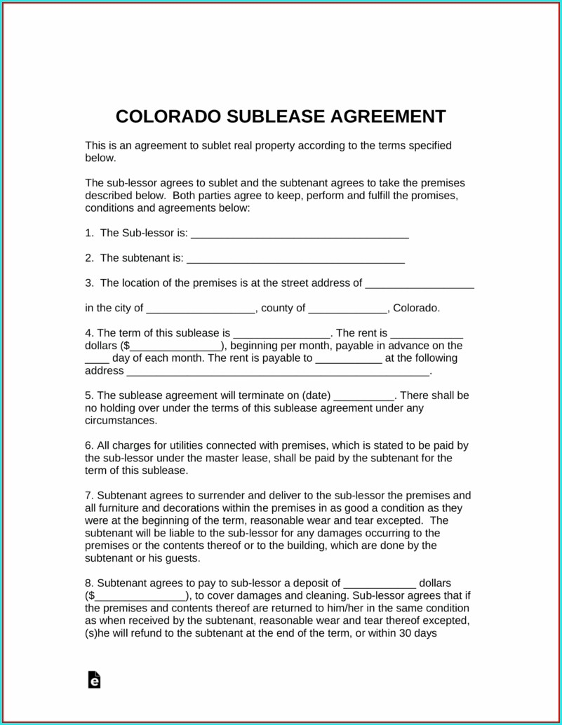 Sublease Agreement Template Colorado