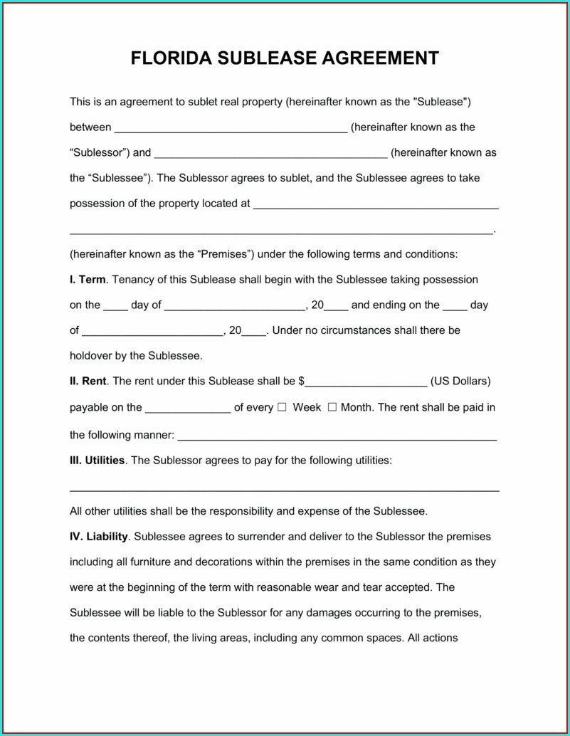 Sublease Agreement Template New York